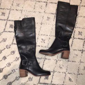 Used, NWOT Franck Sarto black leather knee high boots for sale